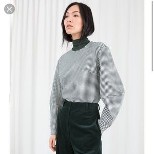 & Other Stories Houndstooth Cotton Blend Top